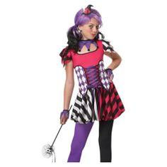 Tween Girls Harlequin Clown Jester Halloween Costume