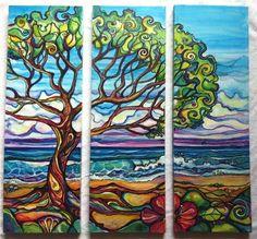 tree, sea tree, triptych, colleen wilcox art, surf art