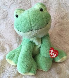 208acea74f6 LEAPERS THE FROG TY PLUFFIES Plush 2006 Green Stuffed Animal Beanie Baby W   Tags