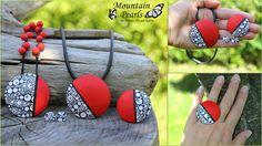 Polymer clay set in red by Mountain Pearls | by mountain.pearls
