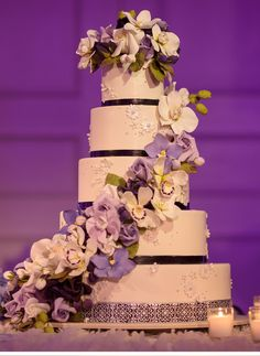 Be inspired by Ariel and Isaiah's elegant Massachusetts wedding in shades of lavender, eggplant and fuchsia. Indian Wedding Cakes, Black Wedding Cakes, Wedding Cakes With Cupcakes, Pretty Cakes, Beautiful Cakes, Amazing Cakes, Bolo Floral, Floral Cake, Wedding Lavender