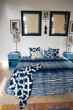 All hand dyed using real indigo. This is a stunning piece! Perfect on a couch, bed. Available at Maryam Montague's online Souk! Bleu Indigo, Mood Indigo, Indigo Dye, Shibori Tie Dye, Tie Dyed, Blue Rooms, Interior Inspiration, Decoration, Home Furniture
