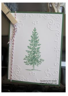 Stampin' Up! Lovely as a Tree, Heat and Stick, Dazzling Diamonds, Filigree Frame Textured Embossing Folder, Cherry Cobbler Baker's Twine http://www.kimplayswithpaper.com/home/shimmery-pine