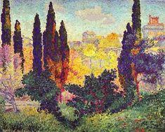 artoko. Henri Edmond Cross: Zypressenbäume in Cagnes