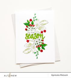Aga created a festive floral card in traditional Christmas colors with the Beautiful Day stamp set. Love the creative use of non-holiday stamp set to make a beautiful holiday card. www.altenew.com