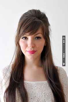 Keiko Lynn tutorial…love this half up do wit a side swept fringe!
