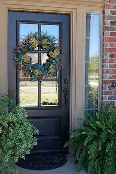 front door color for orange brick house Front Door Paint Colors, Painted Front Doors, Exterior Paint Colors, Exterior House Colors, Exterior Shutters, Black Exterior Doors, House Shutters, Exterior Doors With Glass, Wall Exterior