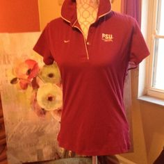 NIKE FLORIDA STATE BASKETBALL POLO TOP SIZE MEDIUM NIKE FLORIDA STATE BUTTON UP POLO TOP LADIES SIZE MEDIUM , IN A TAPERED FIT WITH FSU LOGO ON FRONT AND FLORIDA STATE BASKETBALL THE NOLE ZONE EMBROIDERED ON BACK. BUST MEASURES APPROX 36 INCHES, LENGTH - APPROX  24 INCHES. WORN ONCE. Nike Tops
