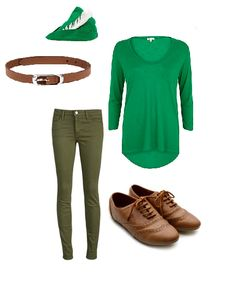 Super cute peter pan halloween costume for girls; army green jeans, flowy green top & oxfords