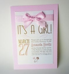 5x7 Girl Themed Baby Shower Invitations on shimmer cardstock. Includes envelopes of coordinating color scheme.    Please contact for more info on