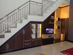 Under stairs storage ideas Space saving furniture design 2019 Stair Railing Design, Home Stairs Design, House Design Photos, Interior Stairs, Stairs In Living Room, House Stairs, Attic Stairs, Living Room Partition Design, Room Partition Designs