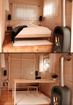 Light shabychic Interior of our tiny house relocatable cabin on