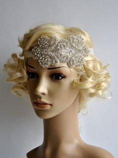 Rhinestone flapper Gatsby Headband Wedding by BlueSkyHorizons