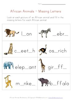 African animals printables