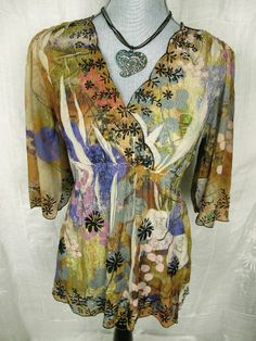 MUSHKA by SIENNA ROSE Sublimation Top Women's M Boho Floral Sheer Empire Waist #boho#mushka#siennarose#fashion#trend#Style#top#deal
