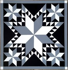 Feathered Star Barn Quilt Designs, Barn Quilt Patterns, Star Patterns, Quilting Designs, Star Quilts, Quilt Blocks, Barn Board Wall, Craft 2016, Painted Barn Quilts