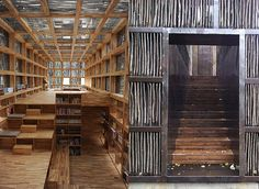 Liyuan Library in the tiny village of Huariou by Li Xiaodong.  A gridded glass shell was constructed, with square supports framing each section. After being inlayed with fully glazed glass, the locally sourced sticks were affixed within the square frames.The timber sticks filter daylight, while blocking harsh sun and solar gain. Wooden shelves, seating, and steps integrate the interior, creating flexible spaces for sitting, reading and stacking books.