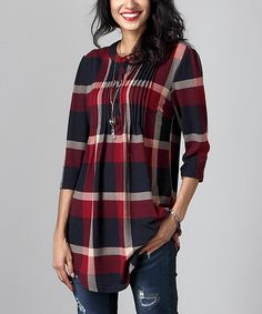 This Red & Navy Plaid Notch Neck Pin Tuck Tunic by Reborn Collection is perfect! #zulilyfinds