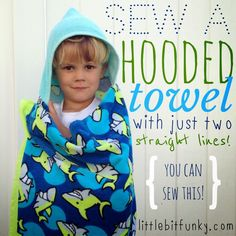 Little Bit Funky: 20 minute crafter {how to sew a hooded beach/pool towel (by sewing two straight lines!)}