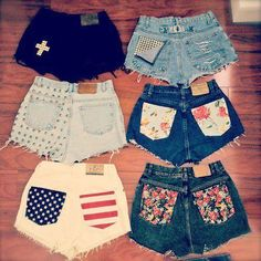 who has two thumbs and is gonna go to Goodwill today to pick out some pants for some new DIY shorts? I absolutely love the black shorts with the white cross! and the flag one! Denim Shorts, Studded Shorts, Pocket Shorts, White Shorts, Cutoffs, Print Shorts, Patterned Shorts, Studded Nails, Clothes Refashion