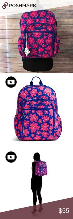 New Vera Bradley Backpack Art Poppies Campus Tech This backpack will get you from point A to point B with ease. The laptop compartment is perfect for work or school, and there are plenty of pockets to take it on a weekend getaway.  Exterior has two front zip pockets and two side pockets Large front zip pocket features three slip pockets, four pen pockets and an ID window Inside features two mesh slip pockets Separate zippered laptop compartment  Care Tips Machine wash cold gentle cycle, use…
