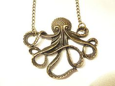 Halskette-Krake-Octopus-Maritim-Fluch-der-Karibik-Pirat-bonze-antik-Kette-neu