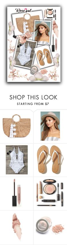 """""""rose gal"""" by tahira-adis-hadzic ❤ liked on Polyvore featuring JADE TRIBE, LULUS, Hollister Co., Burberry and Maybelline"""