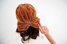 s a l e  Vintage 1960s Turban  60s Velvet Hat  by concettascloset, $30.00