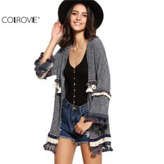 COLROVIE Casual Ladies Knitwear Grey Marled Knit With Embroidered Tape And Fringe Detail Long Sleeve Cardigan