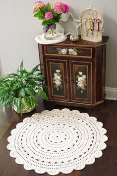Crochet Doily Rug Pattern ALICIA 35 inch rug by hennasboutiqueWriting the Alicia doily rug pattern was a lot of fun, but I& glad it& done!Crochet Rugs Archives - Page 3 of 11 - Crocheting JournalCrochet pattern for Abigail rug, size A pdf file will b Crochet Doily Rug, Crochet Rug Patterns, Crochet Carpet, Crochet Afghans, Crochet Home, Crochet Crafts, Yarn Crafts, Crochet Stitches, Crochet Projects