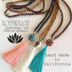 Hand made silk tassel 108 bead mala limited edition necklaces, made with genuine recycled mala beads and hand made African trade beads, (retail value: $169.00) hand made with love in California by Lovepray jewelry.