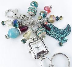 Bold Rustic Cowboy Boot and Colorful Crystal Glass Beaded Cluster Key Chain, Purse Embellishment, Zipper Pull w/wo Watch Face by mmojewelry on Etsy