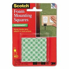 Scotch Products - Scotch - Precut Foam Mounting 1 Squares, Double-Sided, Permanent 16 Squares/Pack - Sold As 1 Pack - Faster, safer, more versatile than screws and nails. - Double-sided, high-density foam tape has a long-lasting adhesive for secure bonding. - Readily mounts to a variety of surfaces. - Great for mounting signs, plaques, picture frames, name plates and more! - by Scotch. $4.99. Scotch - Precut Foam Mounting 1 Squares, Double-Sided, Permanent 16 Squares/Pac...