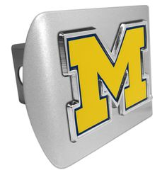 """University of Michigan Yellow """"""""M"""""""" Brushed Chrome Hitch Cover"""