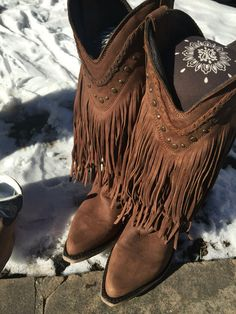 Fringe Cowboy Boots! LOVE LOVE LOVE! By Liberty Black Boots. Seriously every cowgirl needs fringe boots! Wear these with western flare or boho swagger! kemosabe.com