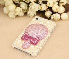 Swee lollipop iphone caset iphone 4 4s 5 case,bow Bling iPhone 5 Cases flower crystals bowknot Case