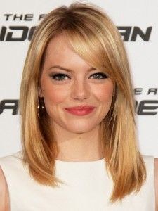 celebrity hairstyles, Emma Stone, Emma Stone hairstyle, strawberry-blonde hair, side-bangs