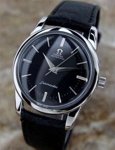 Men's Omega wristwatch with black face, silver bezel, and black leather band.