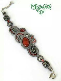 .bransoletka Soutache Bracelet, Soutache Jewelry, Boho Jewelry, Jewelry Crafts, Jewelery, Handmade Jewelry, Jewelry Design, Ring Necklace, Beaded Necklace