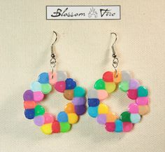 Braided Square Multi Colored Perler Earrings by blossomfire
