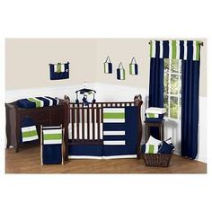 Sweet Jojo Designs Navy Blue & Lime Green Stripe 11pc Crib Bedding Set