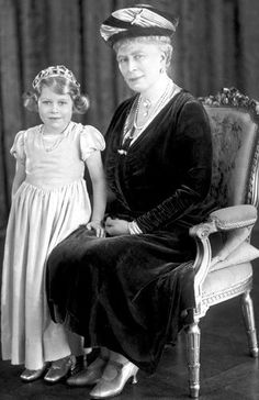 Queen Mary and grand-daughter Princess Elizabeth of York.