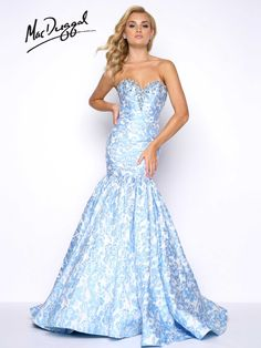 Powder Blue, beaded floral brocade, strapless, sweet heart neckline, trumpet skirt prom dress with train.
