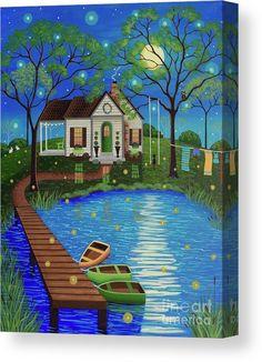 Firefly Cottage Art Print By Mary Charles Firefly Cottage By Mary Charles Lake Cottage Lake Boating Folk Art Painting Cottage Art, Lake Cottage, Primitive Folk Art, Naive Art, Whimsical Art, Landscape Paintings, Folk Art Paintings, Painting Inspiration, Home Art