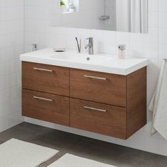 Alternative to double sink. GODMORGON / BRÅVIKEN Sink cabinet with 2 drawers - brown stained ash effect, Brogrund faucet - IKEA Steel Seal, Plastic Foil, Wash Stand, Plastic Drawers, Bathroom Wall, Bathroom Ideas, Remodel Bathroom, Bathroom Inspiration, Ikea Bathroom Vanity