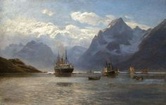 Themistokles von Eckenbrecher (1842-1921) -  Liner Fürst Bismarck in the Raftsund, oil on canvas, 81x120 cm,
