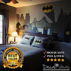 Wall Decal Baby Room Avengers Wall Decor, Peel And Stick Wall Decals, Superhero Wall Decals, Batman Decal For Wall, Spiderman Wall Decal Our most popular city wall decal is also custom made to match your wall instantly transforming the entire look of a boys themed room great for a superhero fan