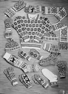 Digitalt Museum - Reklame for strikketøy fra Selbu Double Knitting Patterns, Knitting Charts, Knitting Stitches, Mittens Pattern, Knit Mittens, Knitted Gloves, Motif Fair Isle, Fair Isle Pattern, Norwegian Knitting