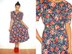 Vtg Retro Orange Floral Printed Navy Belted Dress by LuluTresors, $34.99