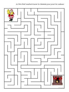 Mazes For Kids, Worksheets For Kids, Activities For Kids, Christmas Paper, Christmas Colors, Christmas Crafts, Free Printable Puzzles, Maze Game, Theme Noel